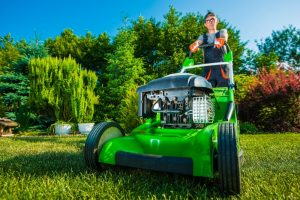 Boy using lawn mower