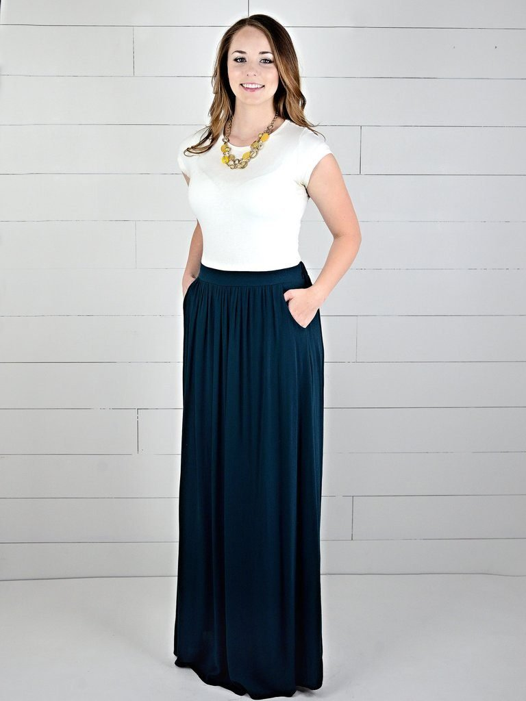 model in long maxi skirt with white t-shirt - modest summer clothes