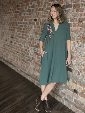 women's boutique clothing - woman in green mid length dress