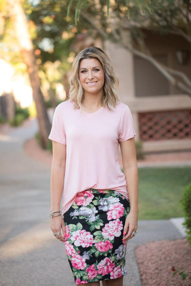 model in pink shirt and floral pencil skirt - modest summer clothes