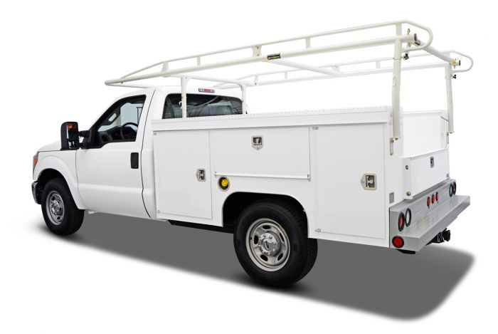 white utility truck with ladder rack