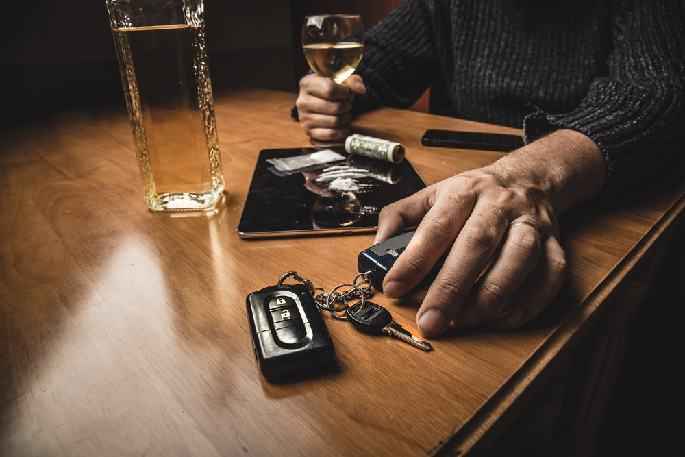 Man takes car keys after using cocaine drug and drinking